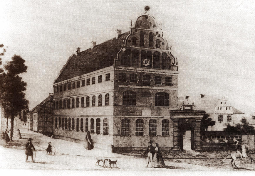 The Domschule 1800; headmaster's house where Adolf Fuchs was born at far right