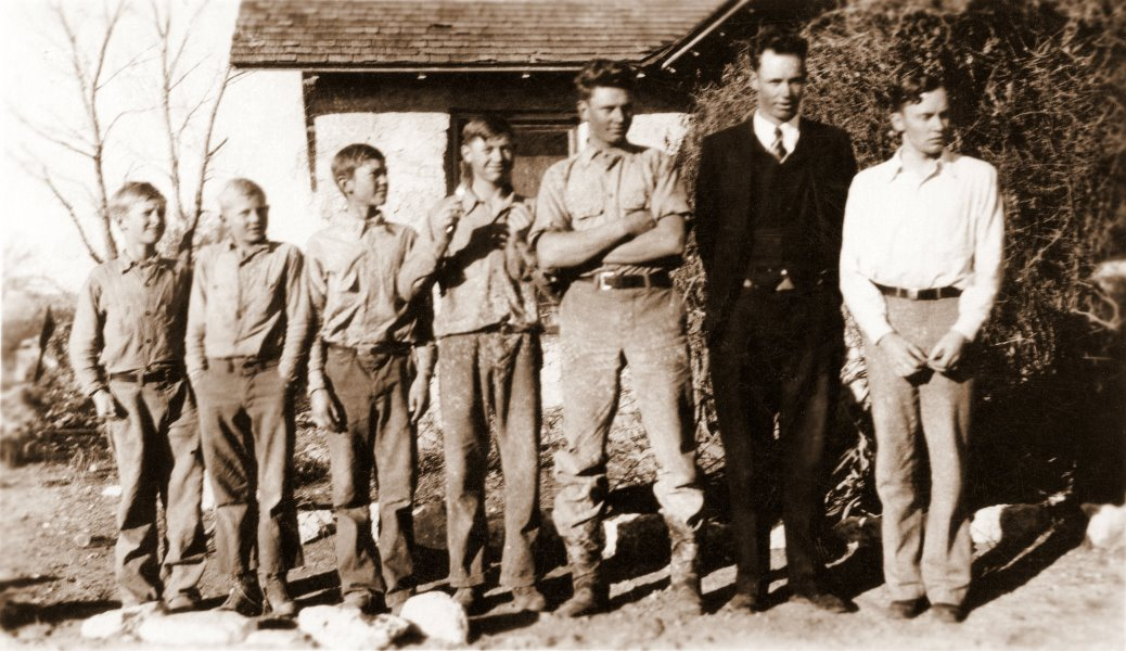 1930 The seven youngest Fuchs brothers in front of the big house at the Ranch