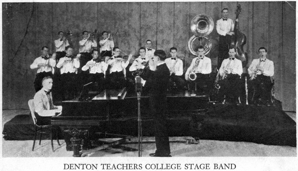 Rudi playing with the Denton Teachers College Band, 1935