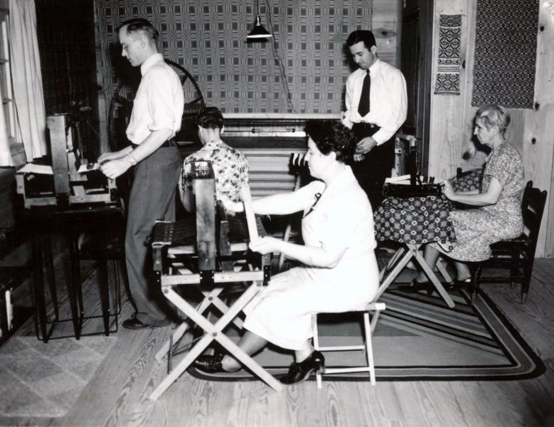 Teaching a weaving class in the old studio, 1937