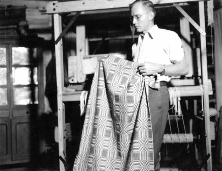 Rudi with one of his weavings, October 1937