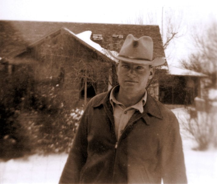 1939-01 George in the snow at the Ranch