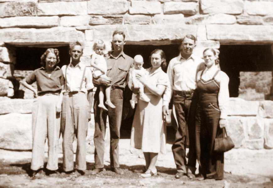A family outing at Sitting Bull Lake, NM, August 1939; Jaurnita and Herman Epperson, Frances and Herman, Fred and Cleo, George and Mildred
