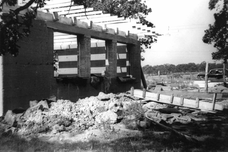 The new rammed earth studio under construction, October 1940