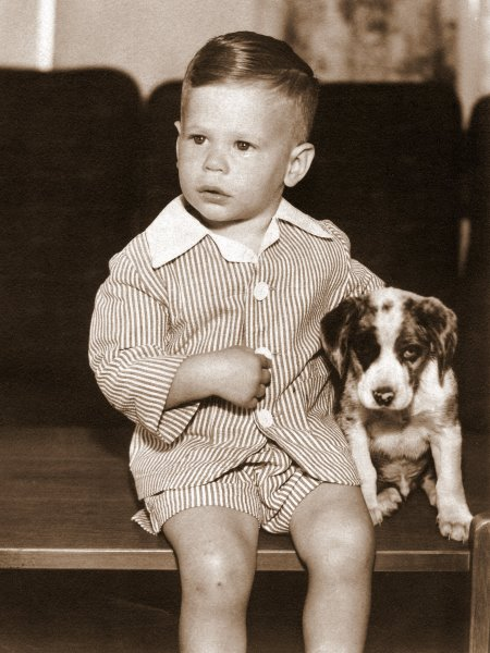 Ken, 20 months old, with pup, 1944