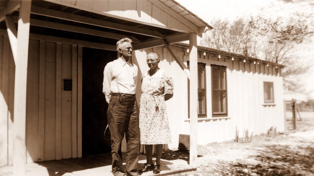 In front of Roland's ranch house, 1945