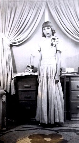 Frances, age 11, dressed for a piano recital, 1947
