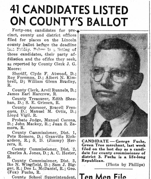 1952 George Fuchs, candidate for County Commissioner