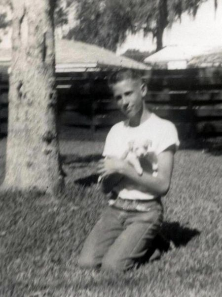 Ken and pup in Beaumont, November 1956