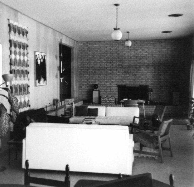 Rudi's 50-foot-long sunken living room, July 1967