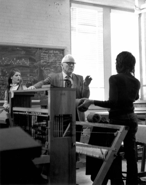 Rudi in a weaving class at NTSU, 1970