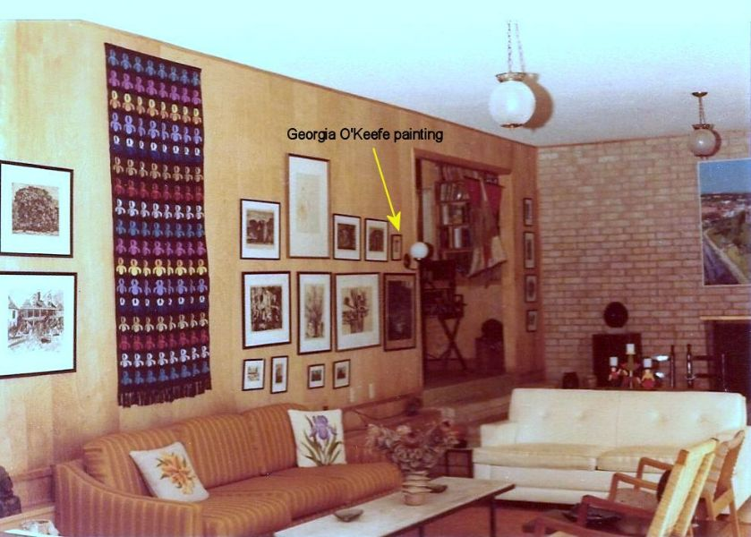 Rudi's living room with Georgia O'Keefe painting, 1978