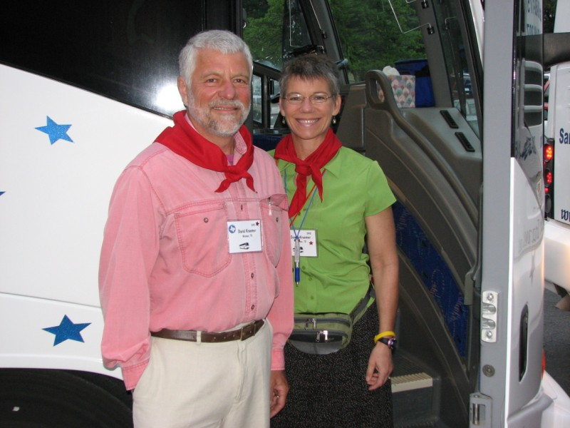 Red Bus #2 captains David and Susan Kraemer