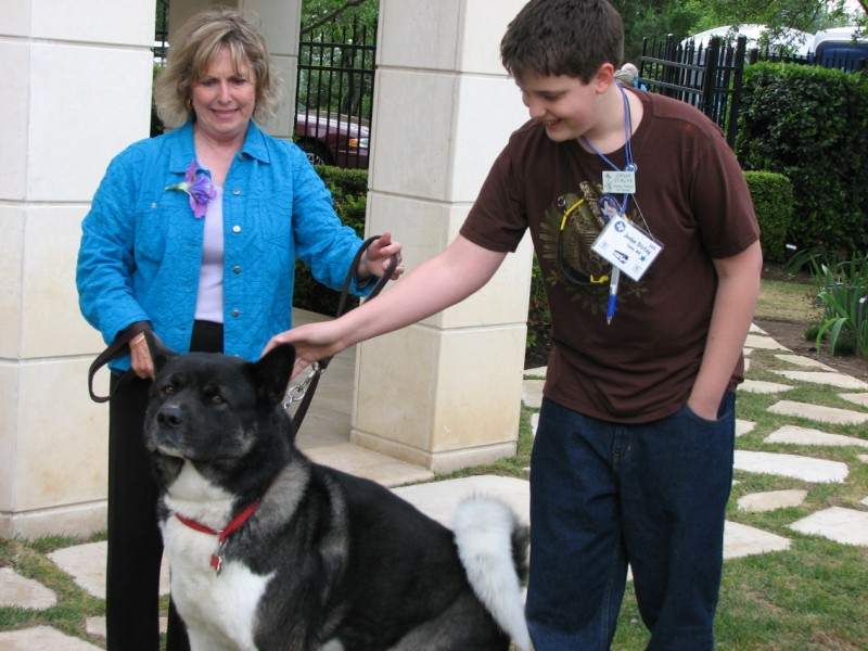 Marney Abel introduces her Akita Seeger to Jordan Stirling.