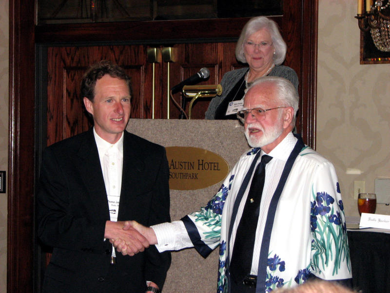 Thomas Johnson receives the Caparne-Welch Medal (MDB)  for 'Wise' (Photo by Larry Nunn)