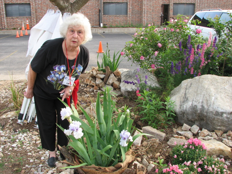 Nelda Moore admires a special potted iris in the Bannockburn Church Garden