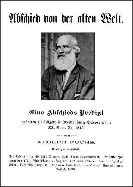Pastor Adolf Fuchs' Farewell Sermon, reprinted in the 1890s