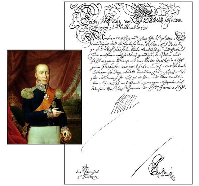 Duke Friedrich Franz I and the patent naming Adolf Friedrich Fuchs a Professor