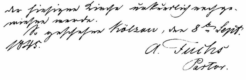 Pastor Adolf Fuchs' signature on his letter of resignation