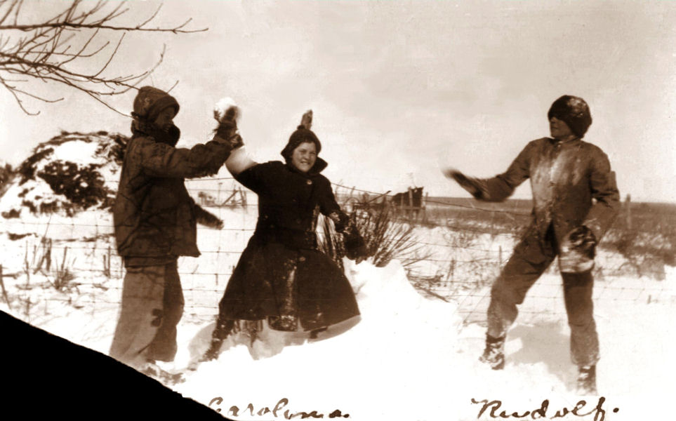 Snow fight, Abernathy, early 1920s